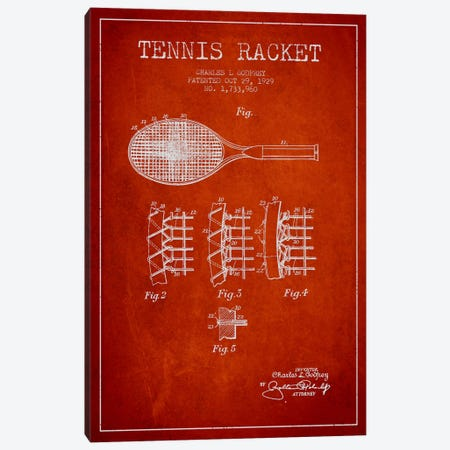 Tennis Racket Red Patent Blueprint Canvas Print #ADP2278} by Aged Pixel Art Print