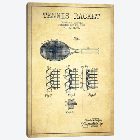 Tennis Racket Vintage Patent Blueprint Canvas Print #ADP2279} by Aged Pixel Canvas Print