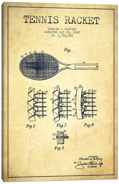 Tennis Racket Vintage Patent Blueprint Canvas Print #ADP2279