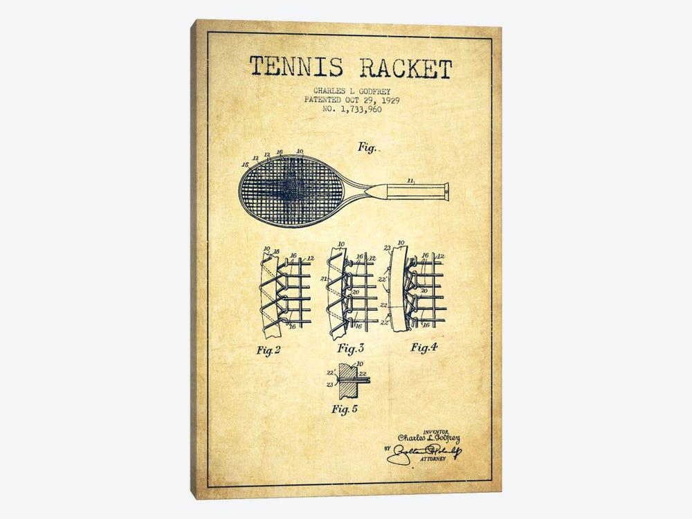 Tennis Racket Vintage Patent Blueprint by Aged Pixel 1-piece Canvas Art Print