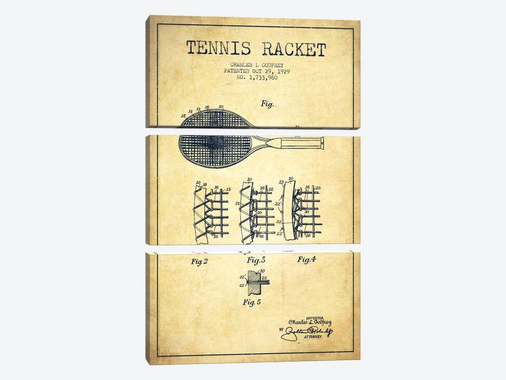 Tennis Racket Vintage Patent Blueprint by Aged Pixel 3-piece Art Print