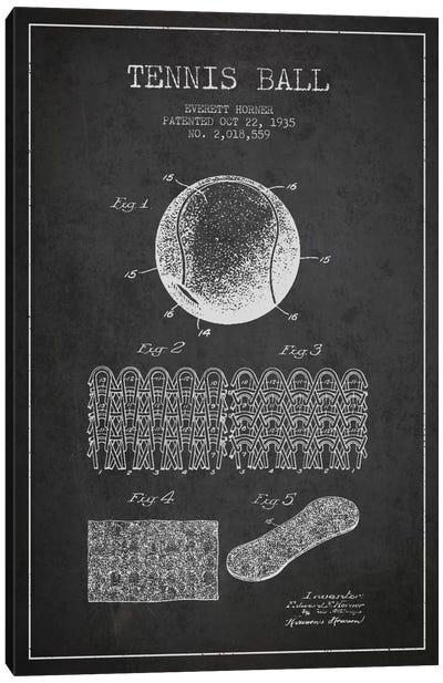 Tennis Ball Charcoal Patent Blueprint Canvas Art Print