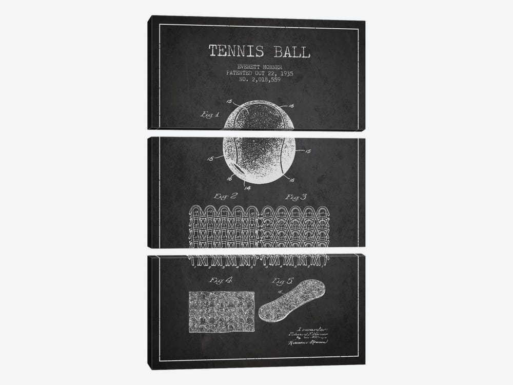 Tennis Ball Charcoal Patent Blueprint by Aged Pixel 3-piece Canvas Print
