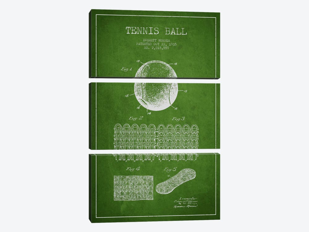 Tennis Ball Green Patent Blueprint by Aged Pixel 3-piece Canvas Wall Art