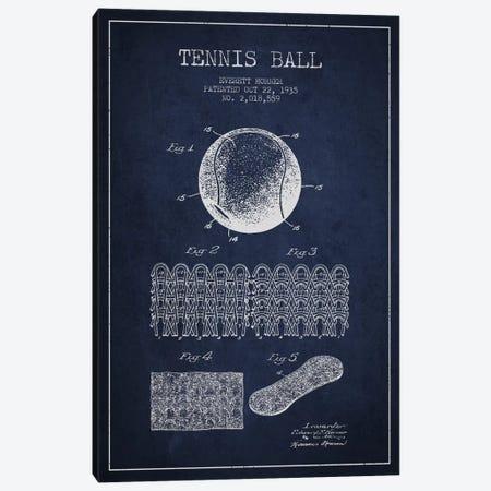 Tennis Ball Navy Blue Patent Blueprint Canvas Print #ADP2282} by Aged Pixel Canvas Wall Art