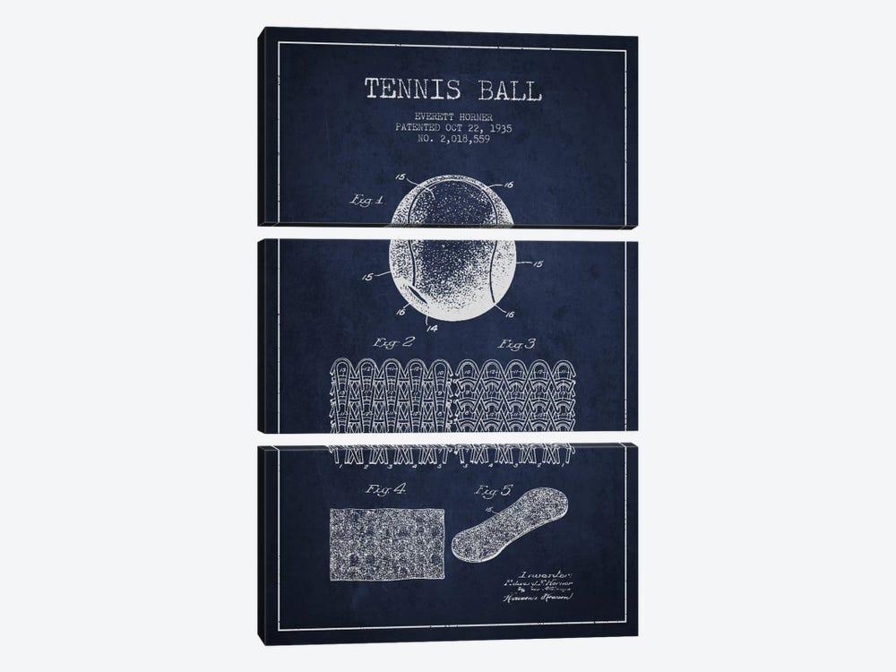 Tennis Ball Navy Blue Patent Blueprint by Aged Pixel 3-piece Art Print