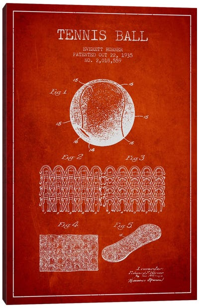 Tennis Ball Red Patent Blueprint Canvas Art Print