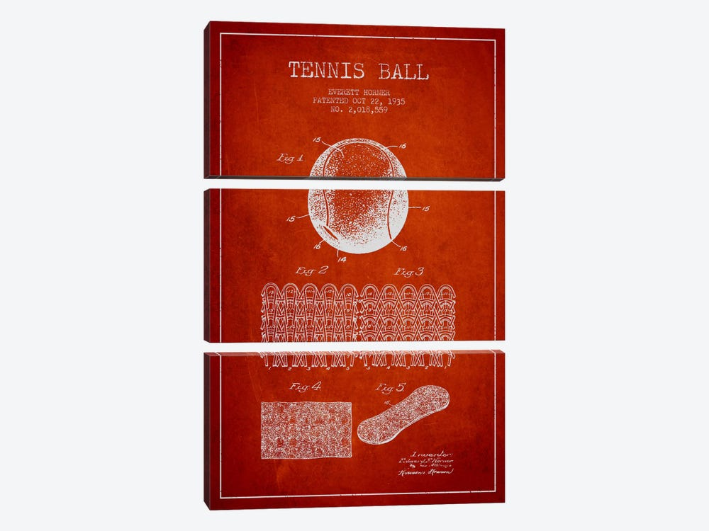 Tennis Ball Red Patent Blueprint by Aged Pixel 3-piece Canvas Artwork