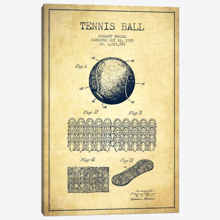 Tennis Ball Vintage Patent Blueprint Canvas Print #ADP2284} by Aged Pixel Canvas Print
