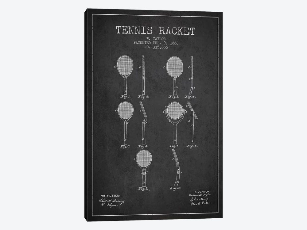 Tennis Racket Charcoal Patent Blueprint by Aged Pixel 1-piece Canvas Wall Art