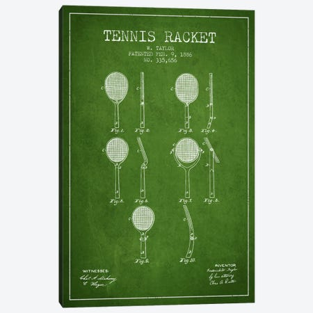 Tennis Racket Green Patent Blueprint Canvas Print #ADP2286} by Aged Pixel Art Print