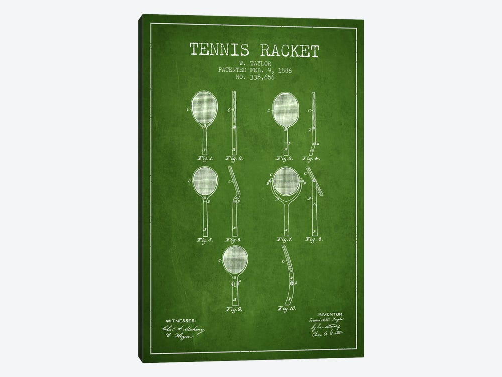 Tennis Racket Green Patent Blueprint by Aged Pixel 1-piece Art Print