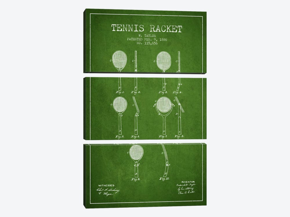 Tennis Racket Green Patent Blueprint by Aged Pixel 3-piece Canvas Art Print