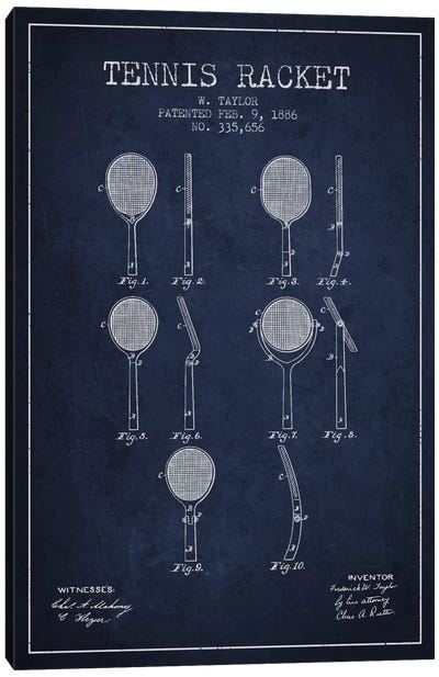 Tennis Racket Navy Blue Patent Blueprint Canvas Art Print