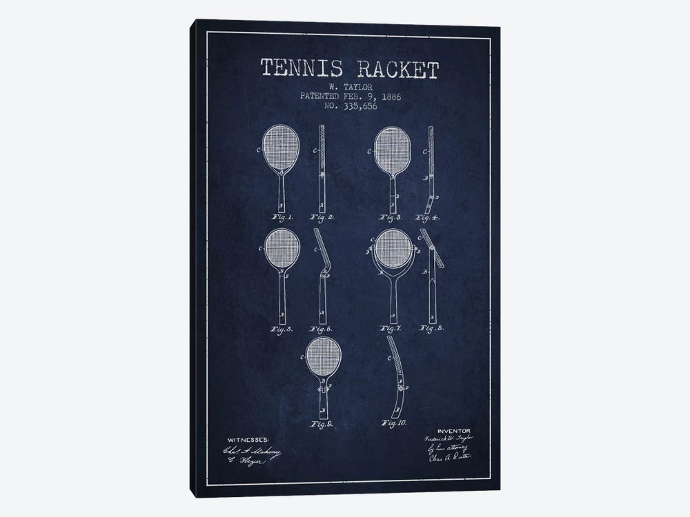 Tennis Racket Navy Blue Patent Blueprint by Aged Pixel 1-piece Canvas Artwork
