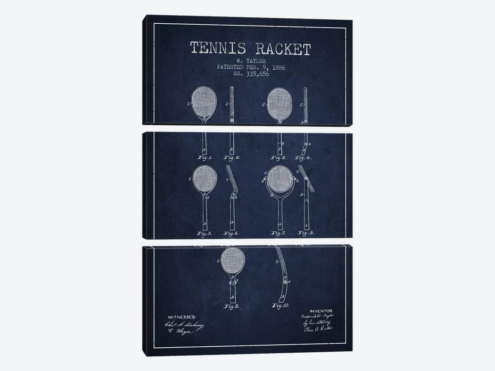 Tennis Racket Navy Blue Patent Blueprint by Aged Pixel 3-piece Canvas Art