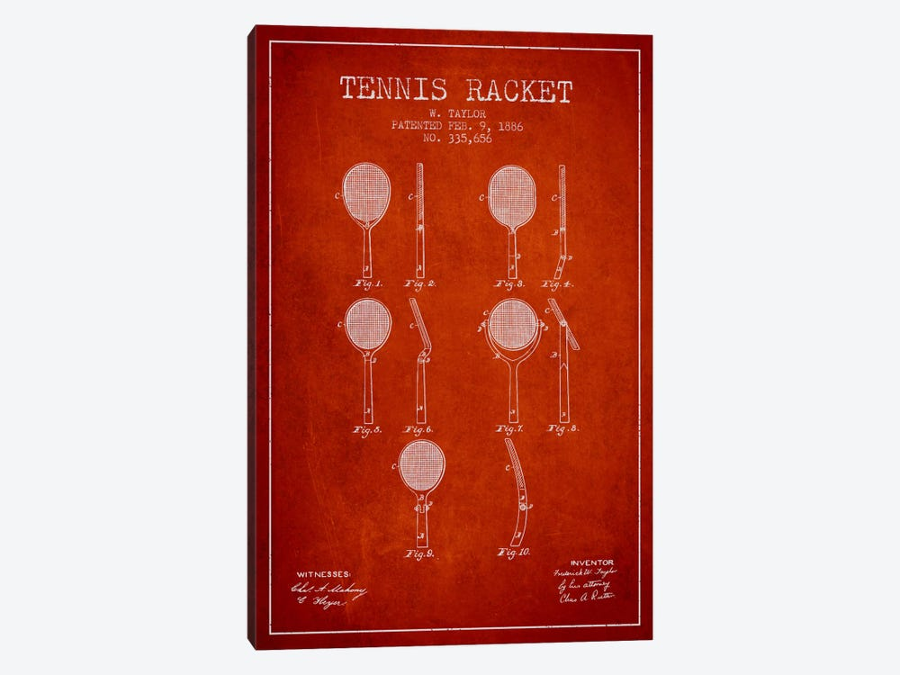 Tennis Racket Red Patent Blueprint by Aged Pixel 1-piece Art Print