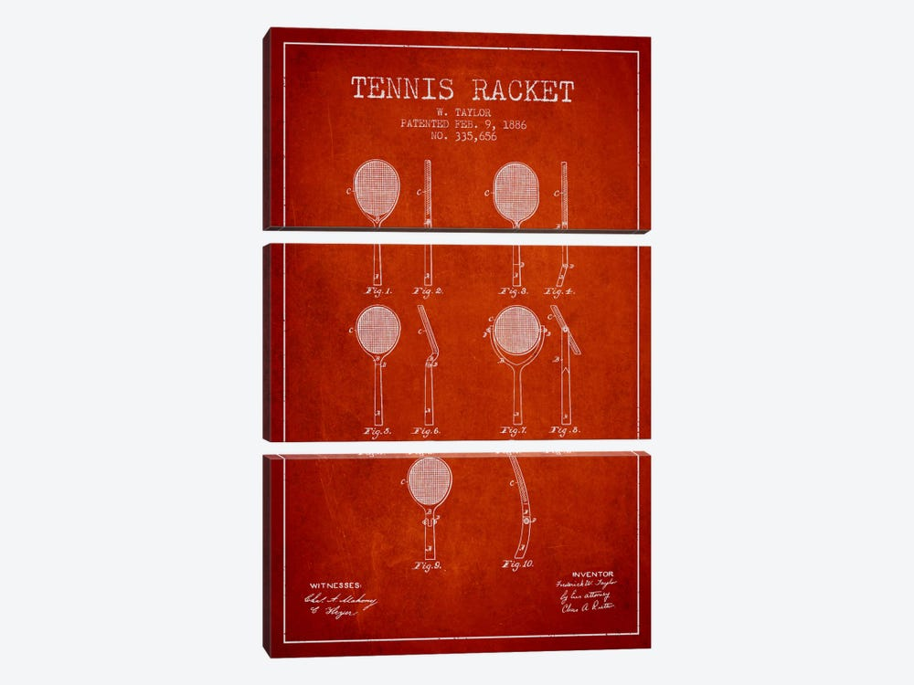 Tennis Racket Red Patent Blueprint by Aged Pixel 3-piece Canvas Art Print