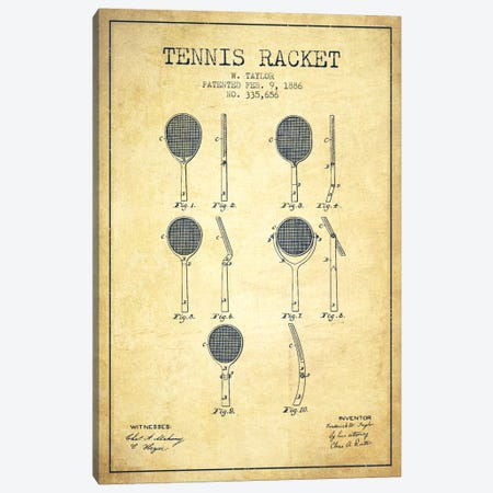 Tennis Racket Vintage Patent Blueprint Canvas Print #ADP2289} by Aged Pixel Canvas Art