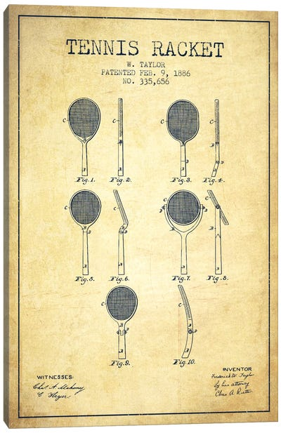 Tennis Racket Vintage Patent Blueprint Canvas Art Print