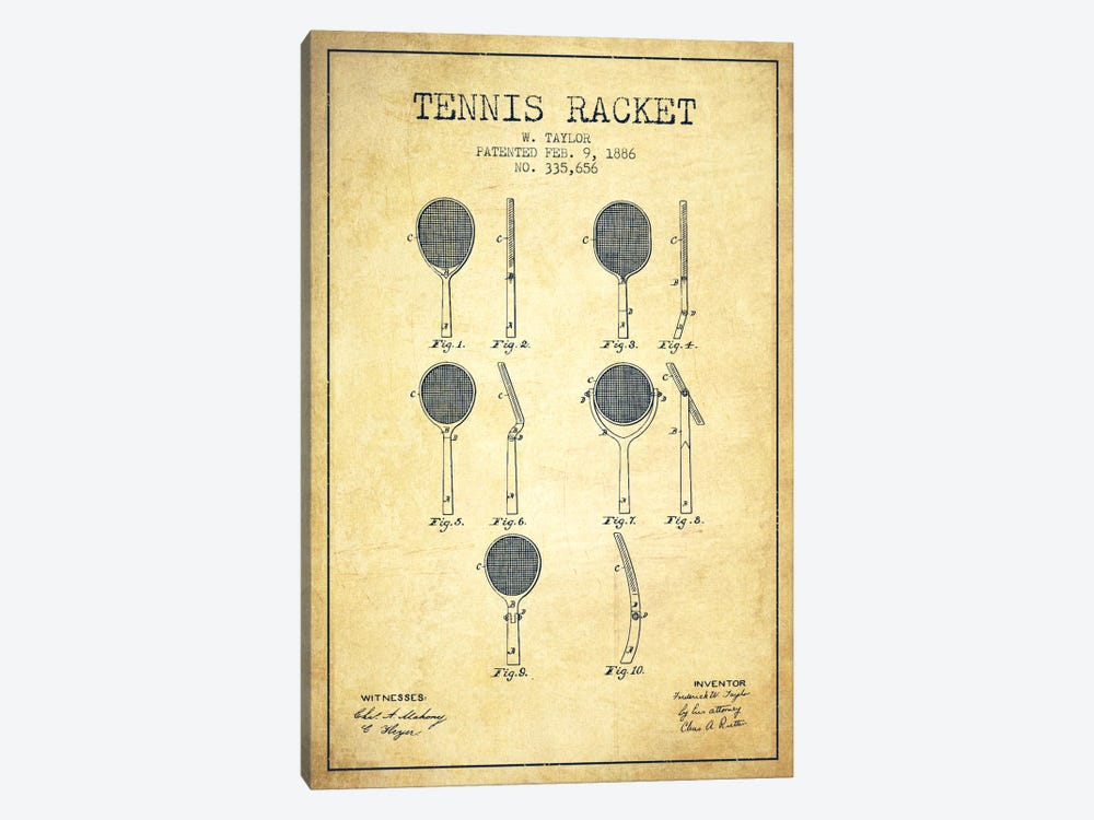 Tennis Racket Vintage Patent Blueprint by Aged Pixel 1-piece Canvas Artwork
