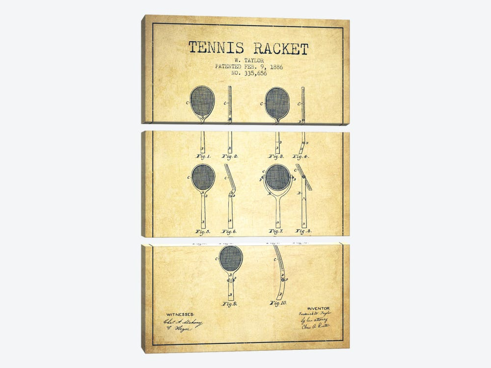 Tennis Racket Vintage Patent Blueprint 3-piece Canvas Wall Art