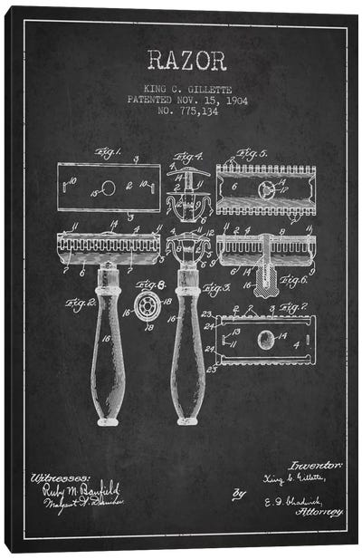 Razor Charcoal Patent Blueprint Canvas Art Print