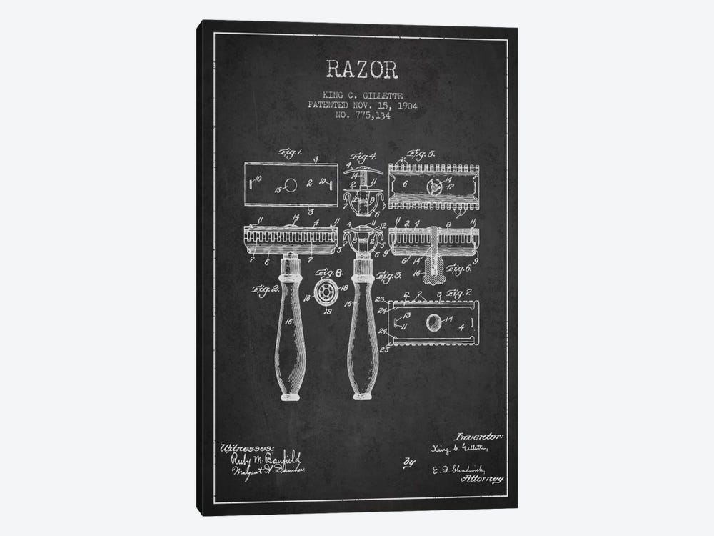 Razor Charcoal Patent Blueprint by Aged Pixel 1-piece Canvas Wall Art