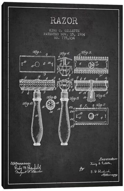 Razor Charcoal Patent Blueprint Canvas Art Print