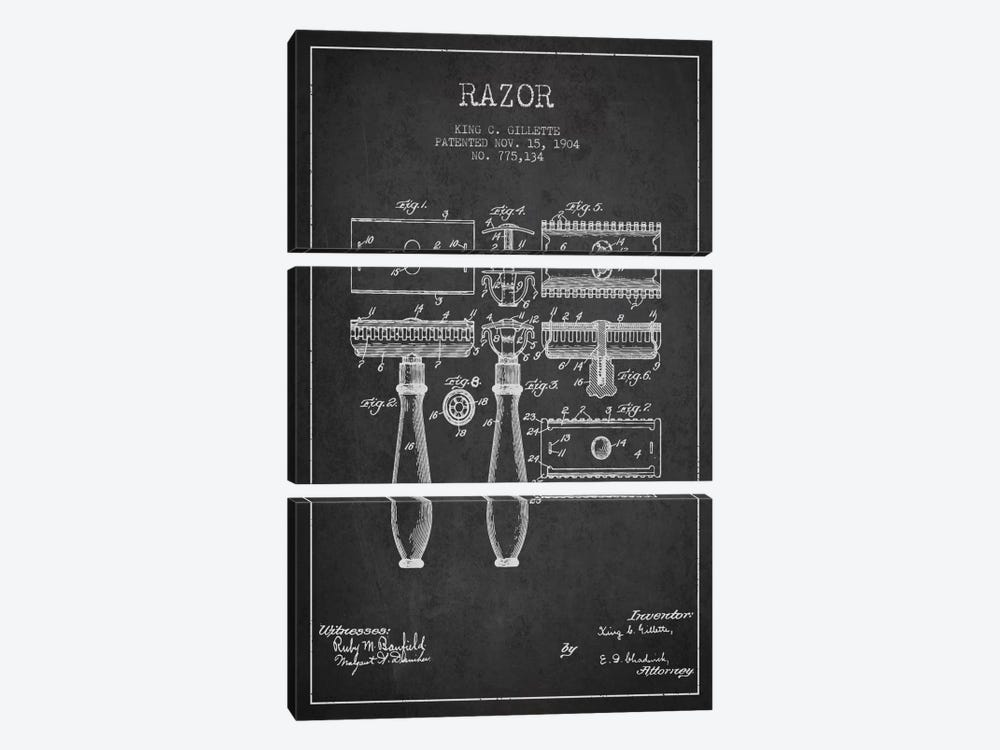Razor Charcoal Patent Blueprint by Aged Pixel 3-piece Canvas Wall Art