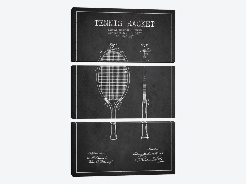 Tennis Racket Charcoal Patent Blueprint 3-piece Canvas Artwork