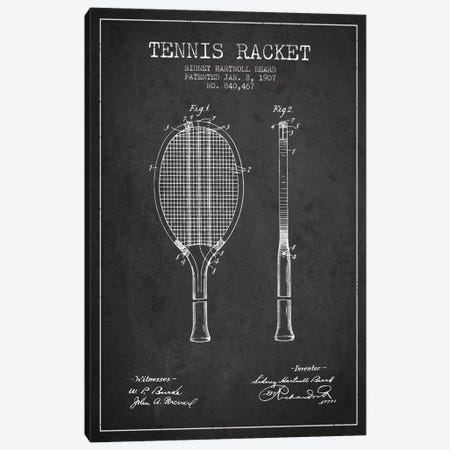 Tennis Racket Charcoal Patent Blueprint Canvas Print #ADP2290} by Aged Pixel Canvas Print