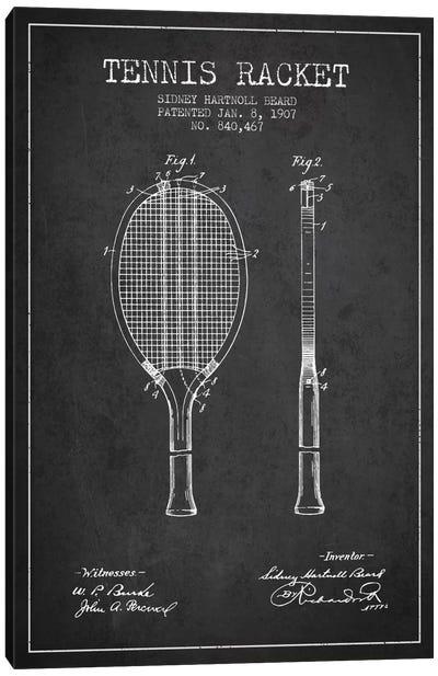 Tennis Racket Charcoal Patent Blueprint Canvas Art Print