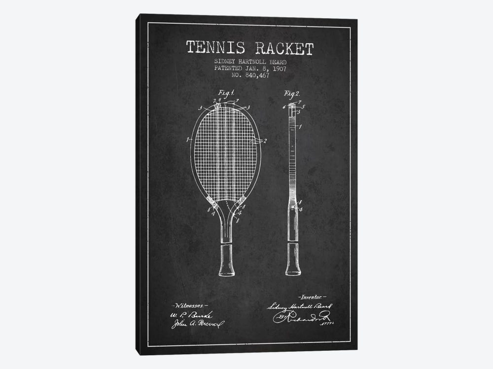 Tennis Racket Charcoal Patent Blueprint 1-piece Canvas Art