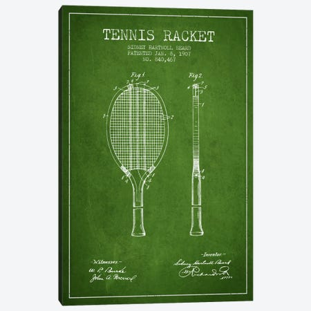 Tennis Racket Green Patent Blueprint Canvas Print #ADP2291} by Aged Pixel Canvas Art Print