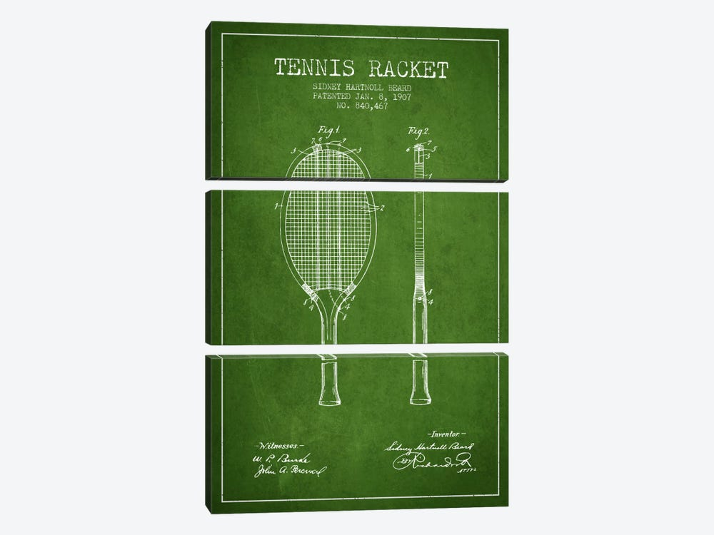 Tennis Racket Green Patent Blueprint by Aged Pixel 3-piece Canvas Print