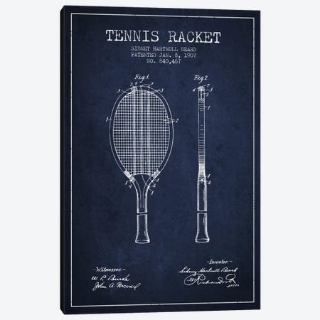 Tennis Racket Navy Blue Patent Blueprint Canvas Print #ADP2292} by Aged Pixel Canvas Print