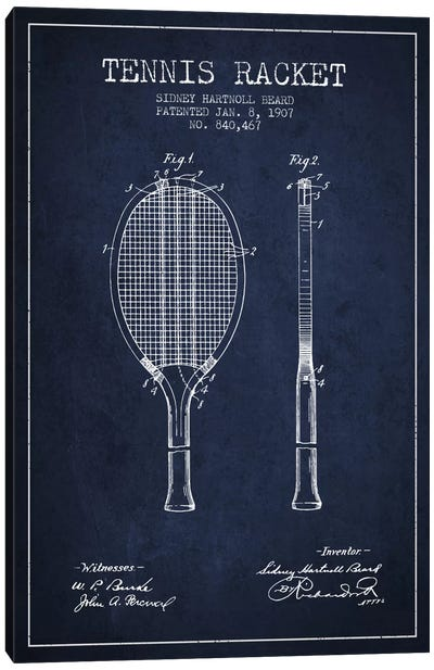 Tennis Racket Navy Blue Patent Blueprint Canvas Art Print