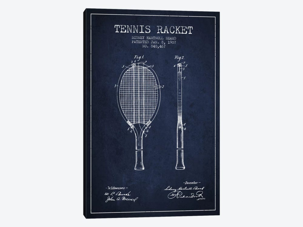 Tennis Racket Navy Blue Patent Blueprint by Aged Pixel 1-piece Canvas Wall Art