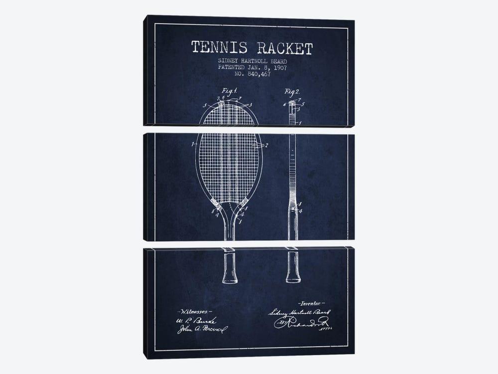 Tennis Racket Navy Blue Patent Blueprint by Aged Pixel 3-piece Canvas Wall Art