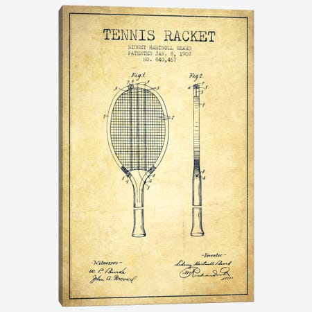 Tennis Racket Vintage Patent Blueprint Canvas Print #ADP2294} by Aged Pixel Canvas Wall Art