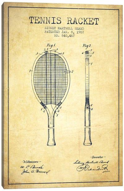 Tennis Racket Vintage Patent Blueprint Canvas Art Print