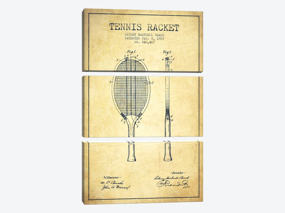 Tennis Racket Vintage Patent Blueprint by Aged Pixel 3-piece Canvas Wall Art