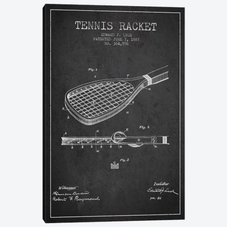 Tennis Racket Charcoal Patent Blueprint Canvas Print #ADP2295} by Aged Pixel Canvas Wall Art