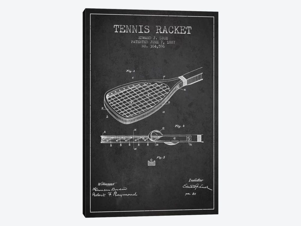 Tennis Racket Charcoal Patent Blueprint by Aged Pixel 1-piece Canvas Art Print