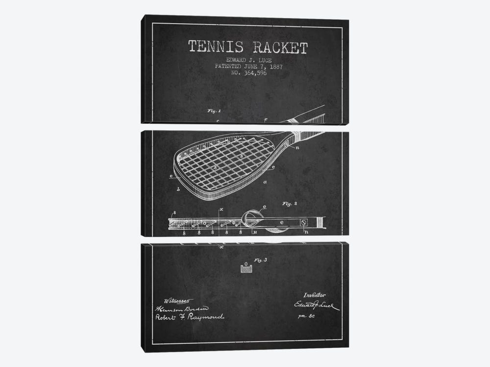 Tennis Racket Charcoal Patent Blueprint by Aged Pixel 3-piece Canvas Art Print