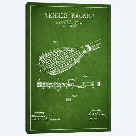 Tennis Racket Green Patent Blueprint Canvas Print #ADP2296} by Aged Pixel Canvas Art