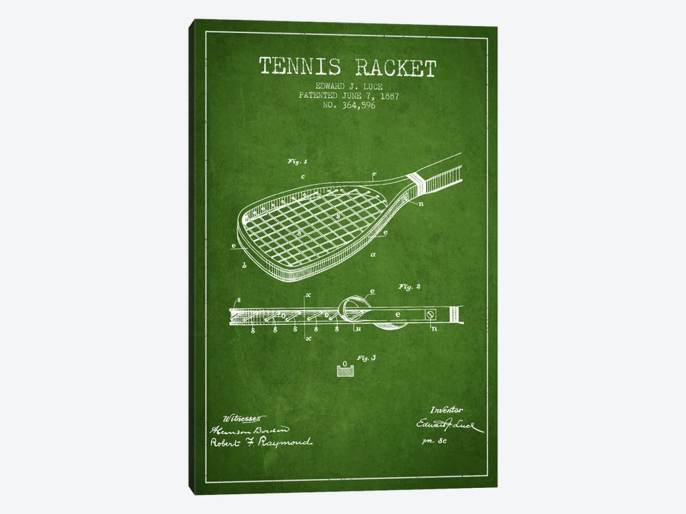 Tennis Racket Green Patent Blueprint by Aged Pixel 1-piece Canvas Art