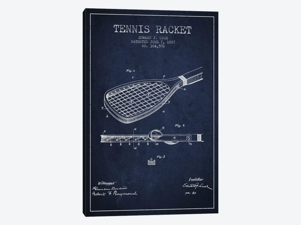 Tennis Racket Navy Blue Patent Blueprint by Aged Pixel 1-piece Art Print