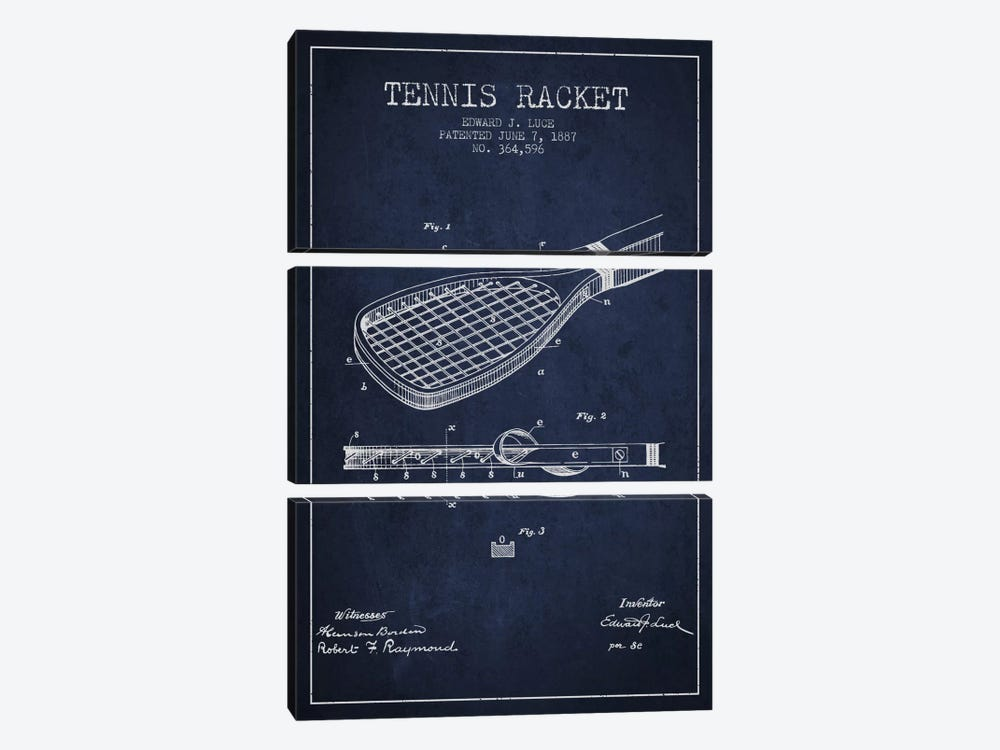 Tennis Racket Navy Blue Patent Blueprint 3-piece Art Print